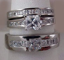 His Hers Princess Cut Wedding Engagement 3 Ring Set